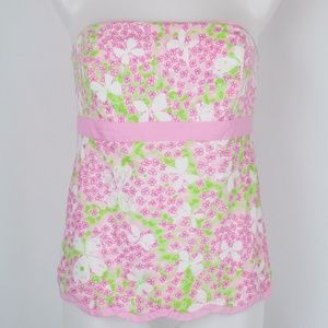 Lilly Pulitzer Pink Floral Strapless Tank Size 10